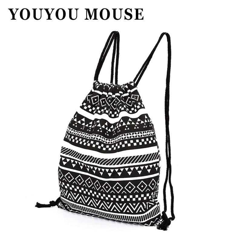 YOUYOU MOUSE National Women Nylon Drawstring Backpack
