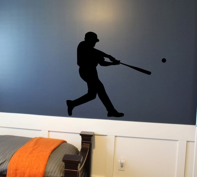 Baseball Hitter Wall Stickers Softball Low Swing Vinyl Playroom Interior Home Self Decal PVC Kids