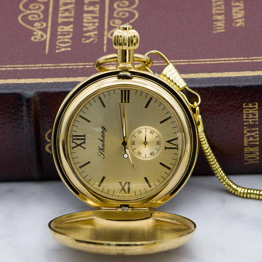 Luxury Gold Mechanical Pocket Watch Necklace Hand Wind Golden Men Fob Clock Necklace Watches with Chain Gift PJX1318