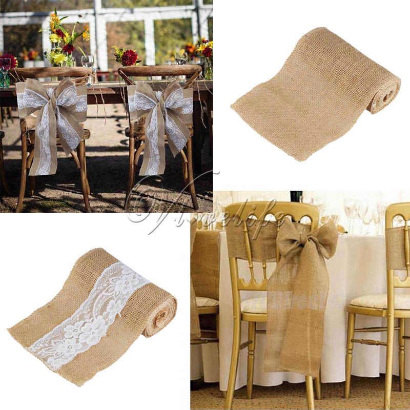 10 шт. 6 ''x 94'' ручной джутовую мешковину стул створки лук с Кружево для душа ребенка партия свадебные деревенский Свадебный декор