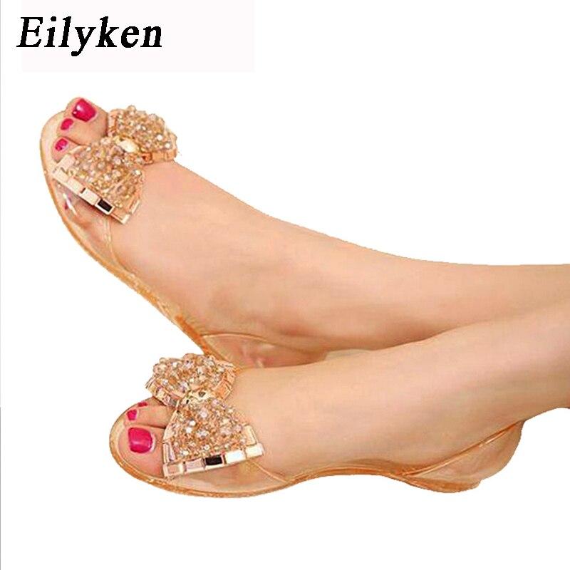 Eilyken femmes sandales été Style Bling Bowtie gelée chaussures femme décontracté Peep orteil sandale cristal chaussures plates taille 35-40