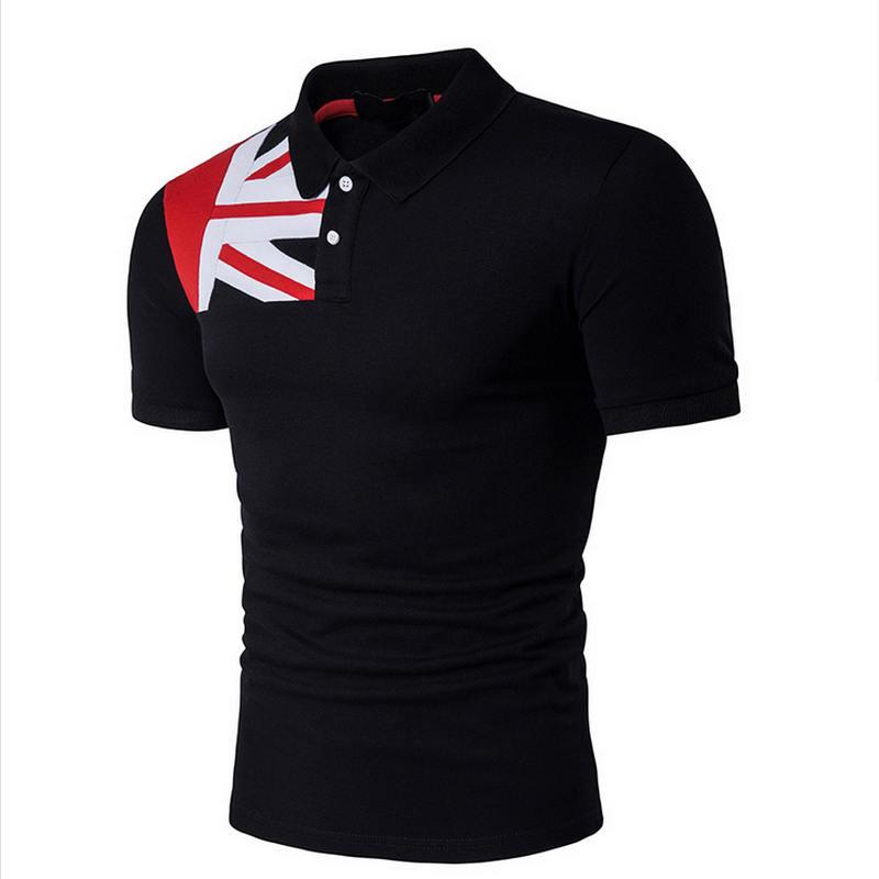 summer autumn new men's american flag print cotton   polo   shirt Men's Business Solid color Slim   polo   shirt size S-XXL