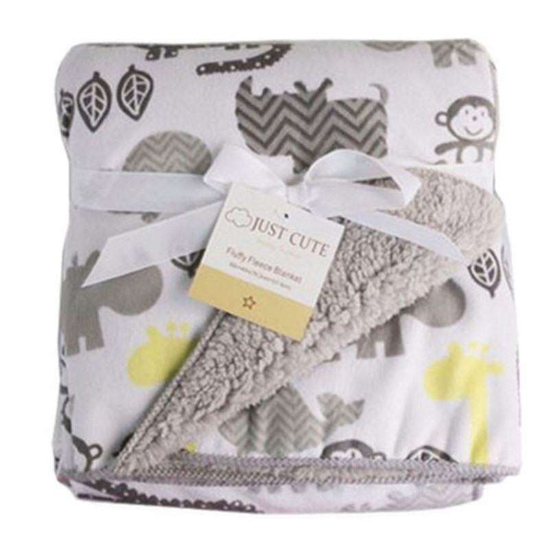 Baby Blanket New Brand Thicken Double Layer Coral Fleece Infant Swaddle Envelope Stroller Wrap For Newborn
