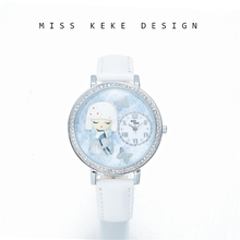 Miss Keke Original Design Snow Queen 3D Clay Watch Mujer niña Ladies Women piel de cuarzo Wristwatche