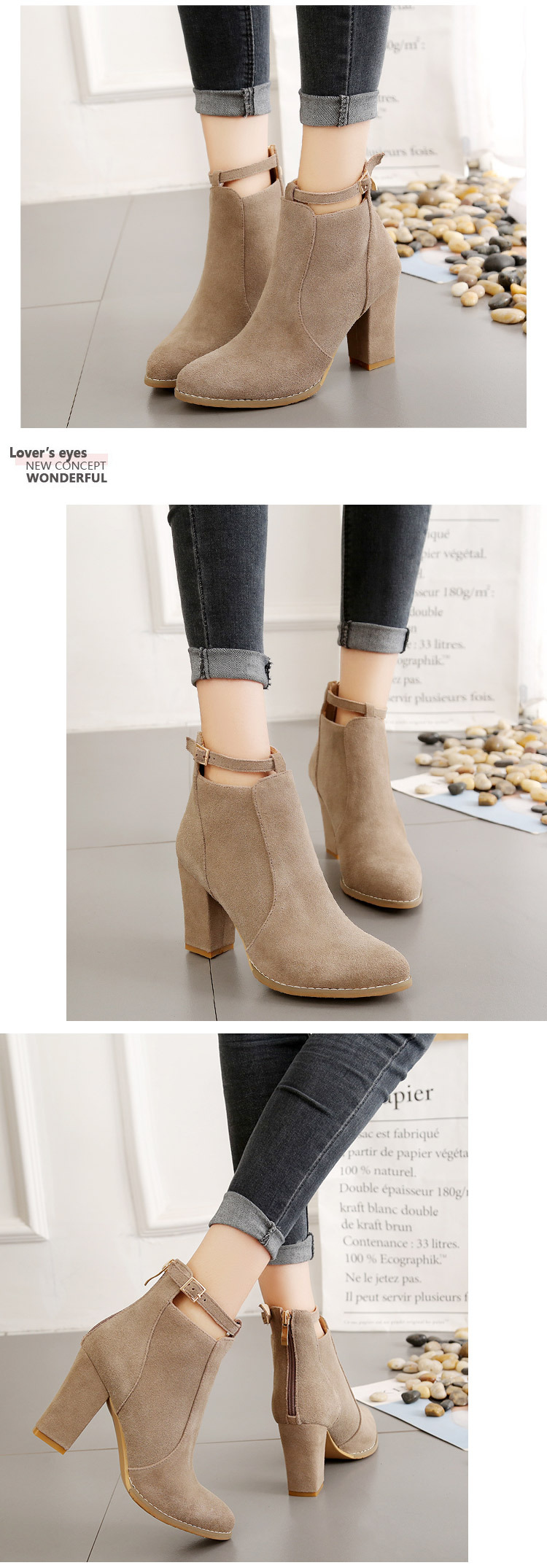 Women shoes Winter Autumn Casual  High Heels Warm Ankle boots