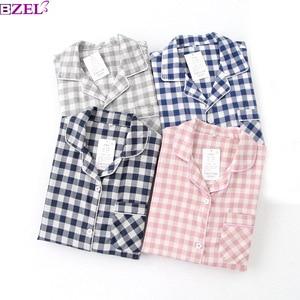 Image 2 - Lovers Spring New Pajama Set Plaid 100%Gauze Cotton Men And Womens Couple Sleepwear Turn Down Collar Household Wear Casual Wear