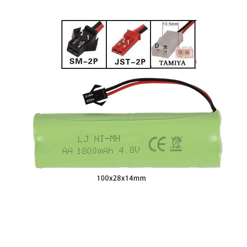 LEKYLUKY 4.8v 1800mah H-style High capacity AA NI-MH rechargeble Battery for electric toys RC toys size 100*28*14mm