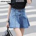 2017 Summer New Ruffles Denim Skirt Women's Plus Size Slim High Waist Skirts Short Jeans Female