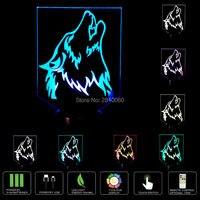 Kolorowe Wilk 3D Lampa Night Light USB LED Lampa Biurko Światła Nowością Dotykowy Przełącznik i Zdalnego Sterowania dla Dzieci Prezent Home Decoration