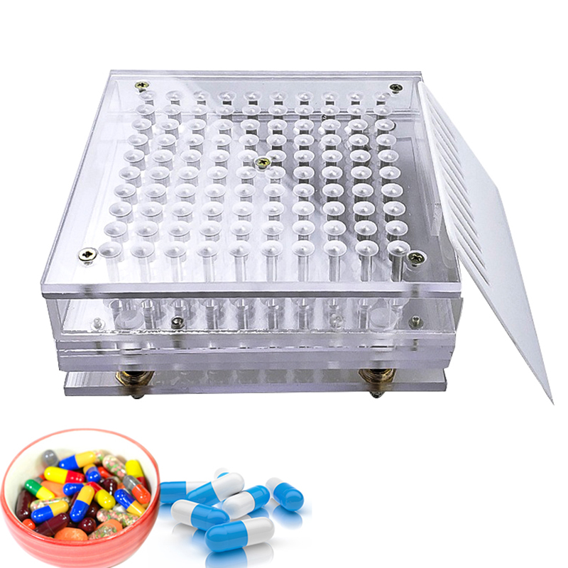 Máquina de polvo de cápsula de 100 agujeros 000 #, 00 #, 0 #, 1 #-5 # tablero de cápsula vacía + herramienta de llenado Manual de cápsula de aerosol