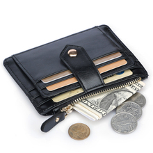 купить Brand Card Holder Men Wallets Hasp & Zipper Coin Pocket Male Man Credit Cards Purse Black Small Wallet ID Card High Quality HOT дешево