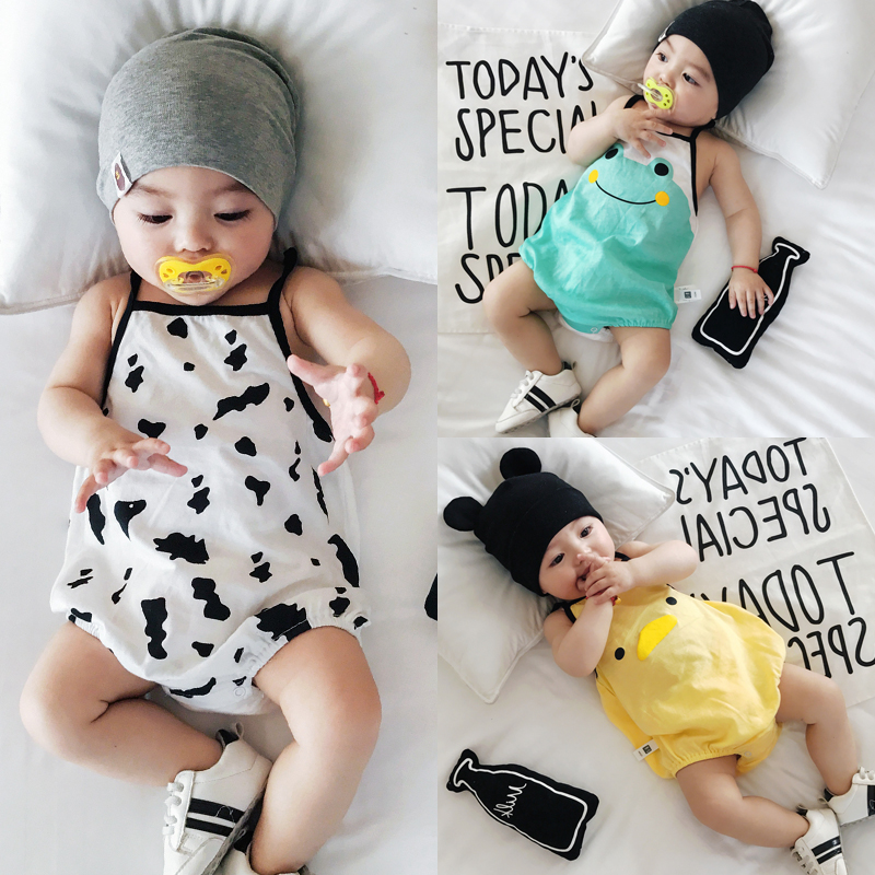 Lemonmiyu Summer Animal Baby Bodysuits Sleeveless Cartoon Toddler Cotton Jumpsuit Newborn Unisex Bodysuit Infants Soft One-Piece цена 2017