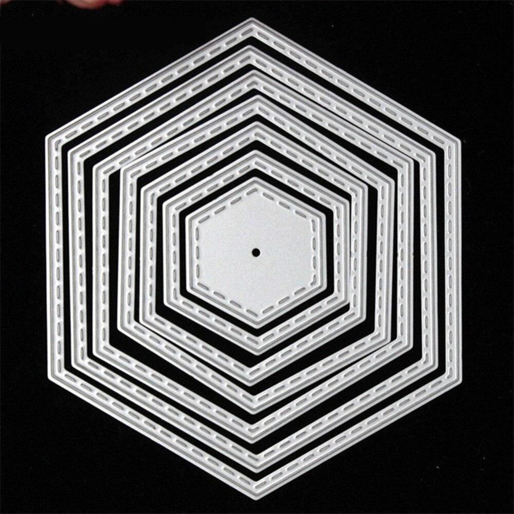⑦Nuevo metal Recortes de papel plantillas 7 unids hexagonal 10.5*9 ...