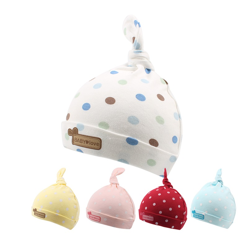 Cotton Newborn Baby Hat Cute Dots Infant Beanie Newborn Boy Girl Hat Candy Color Baby Hat Spring Summer 0-6M Baby Girl Clothing