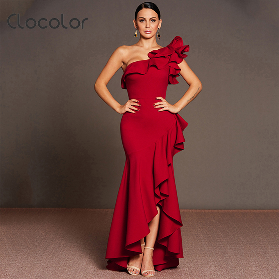 Clocolor Women Summer Asymmetrical Female Ankle Length Vintage Dress Elegant Red One Shoulder Strapless Backless Falbala Dresses
