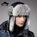 2016 calientes del invierno sombreros sombrero de piel de conejo real de rusia aviator al aire libre orejeras cap proteger cálido espesar bombardero sombrero para las mujeres y de los hombres