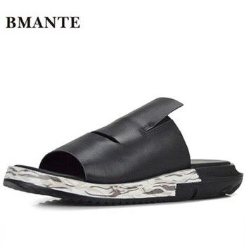 Bmante Genuine Leather Men Sandals Beach Slip-On Solid Rome Casual Slippers Outside Flip Flops Summer Men Shoes Flat Slides