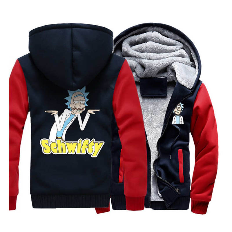 USA Size  New Winter Jackets and Coats Rick and Morty hoodie Hooded Thick Zipper Men Sweatshirts