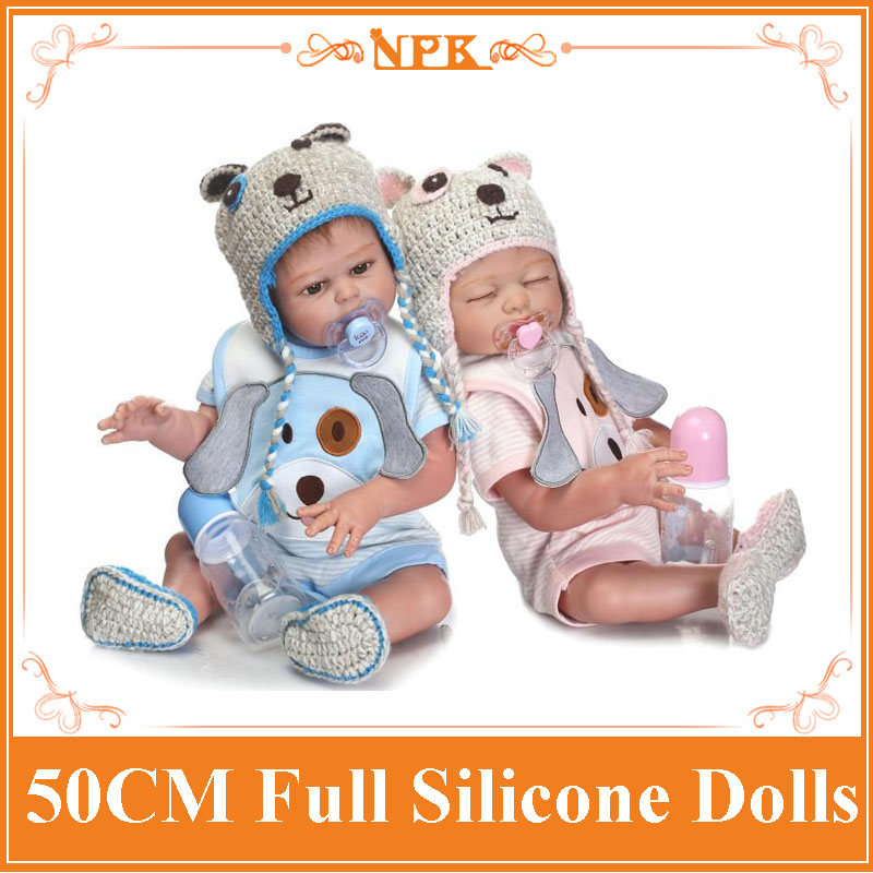 2018 New 50CM NPK Full Silicone Body Reborn Baby Doll Newborn Baby Boy And Girl Twins Doll Kids Girls Play House Toys Brinquedo2018 New 50CM NPK Full Silicone Body Reborn Baby Doll Newborn Baby Boy And Girl Twins Doll Kids Girls Play House Toys Brinquedo