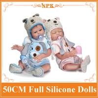 2018 New 50CM NPK Full Silicone Body Reborn Baby Doll Newborn Baby Boy And Girl Twins Doll Kids Girls Play House Toys Brinquedo