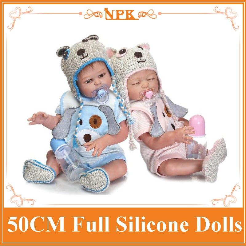 2018 nouveau 50 CM NPK Silicone corps Reborn bébé poupée nouveau-né bébé garçon et fille jumeaux poupée enfants filles jouer maison jouets Brinquedo
