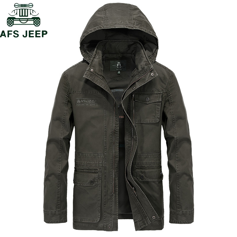AFS JEEP Brand Military Jacket Men High Quality Plus Size M-4XL Men's Winter Autumn Casual Cotton  Hooded Mens Jacket Coat