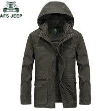 30da93d2a3860a AFS JEEP Brand Militare Giacca Con Cappuccio del Cappotto Degli Uomini 100%  cotone Autunno Inverno