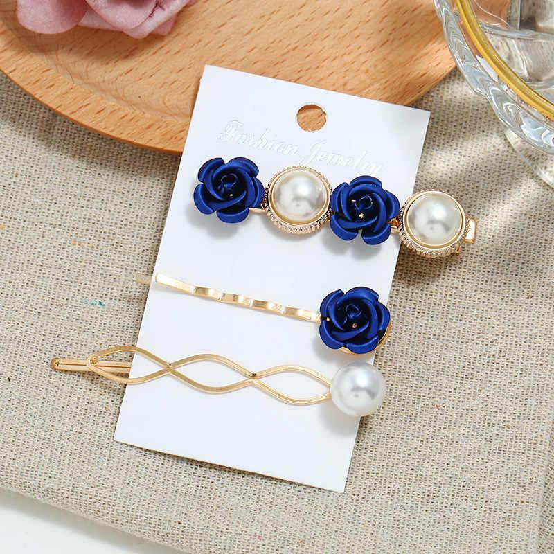 3pcs/Set French Girl Hairpin Combination Retro Pearl Flower Bangs Barrette Net Red Edge Clip Card Hair Accessories Dropship 2019