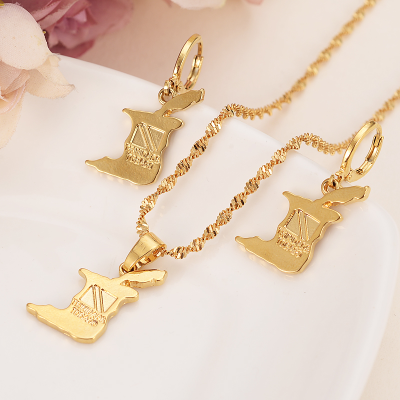 gold Trinidad and Tobago map Jewelry Sets Earring Necklace chain Jewelry Sets for Women girls souvenir wedding bridal gift