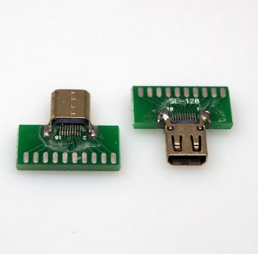2pcs/lot Micro HDMI connector female D TYPE tester with PCB board HDMI Jack with PCB board