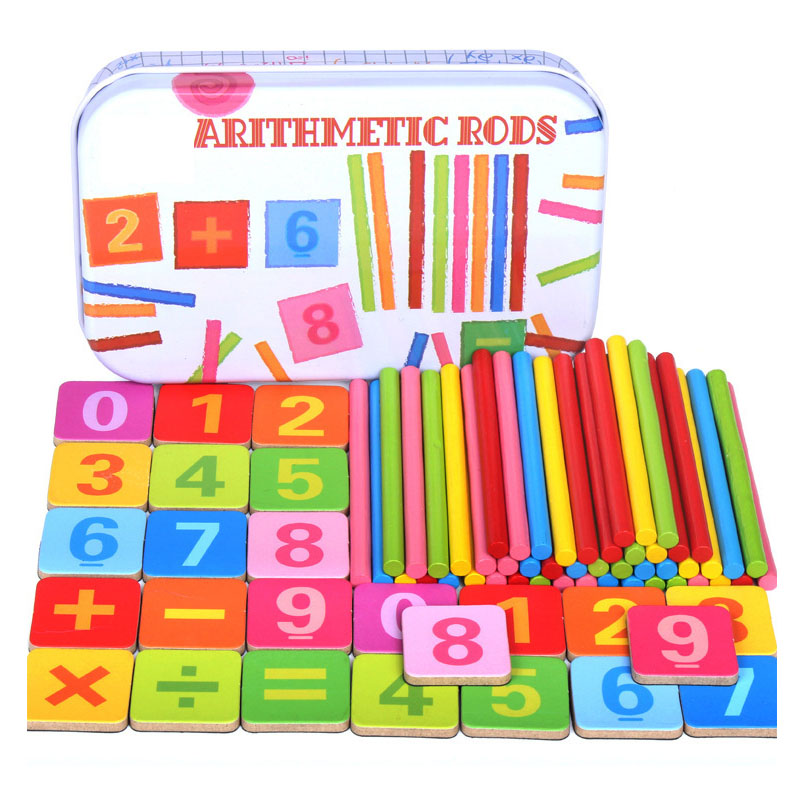 Baby Toys Wooden Counting Sticks early Education Montessori Wooden for Child Math toys with Iron box (free to Russia)(China)