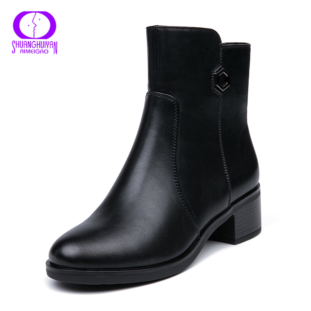 AIMEIGAO 2018 New Arrivals Soft Leather Ankle Boots Women Comfortable Mid Heels Boots For Ladies Spring Autumn Women Shoes 1