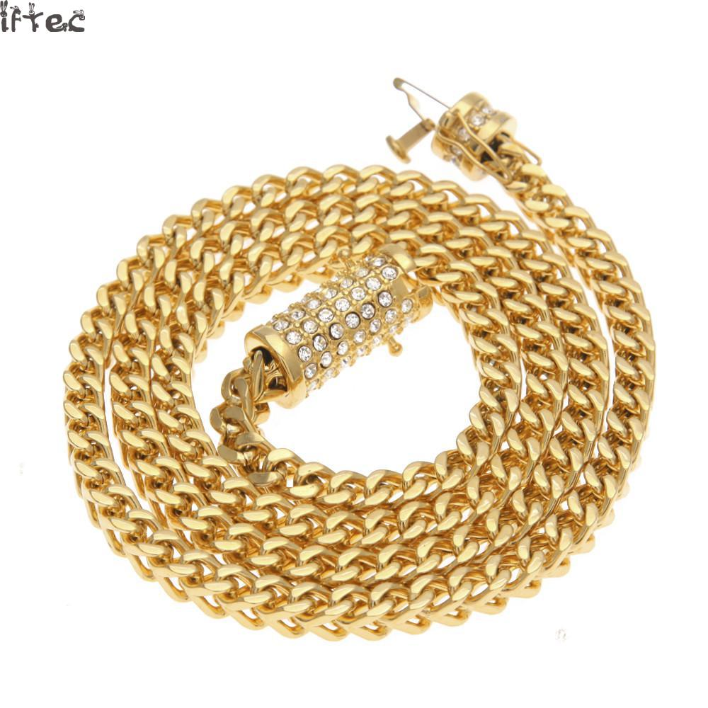 6mm Stainless Steel Wheat Chain Gold Silver Plated 73cm Long Franco Chain Necklace Mens Jewelry Luxury Rhinestone Box Clasp