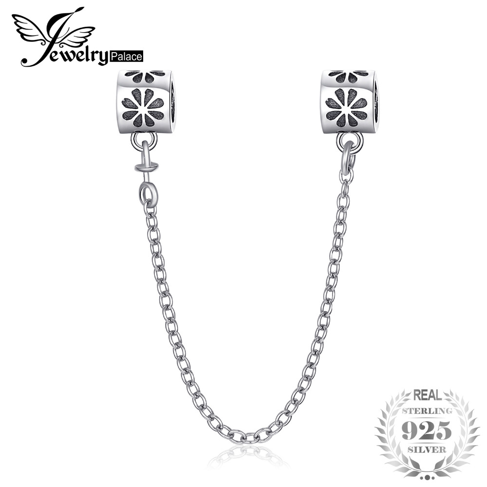 Jewelrypalace Silver Flower Safety Chain 925 Sterling Silver Gifts For Women Anniversary Gifts Fashion Jewelry Hot Selling