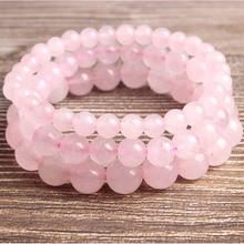 LanLi  fashion natural Jewelry pink Ice crystal powder loose beads Bracelet DIY Charms Men Strand Beads Yoga Women Bracelets