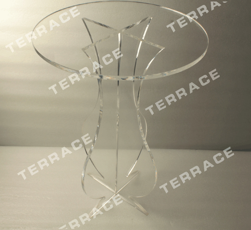 (FREE SHIPPING)Unfolding Crystal Acrylic Hickory Round Pedestal Coffee  Table,Vantage Lucite Carved Accent Table