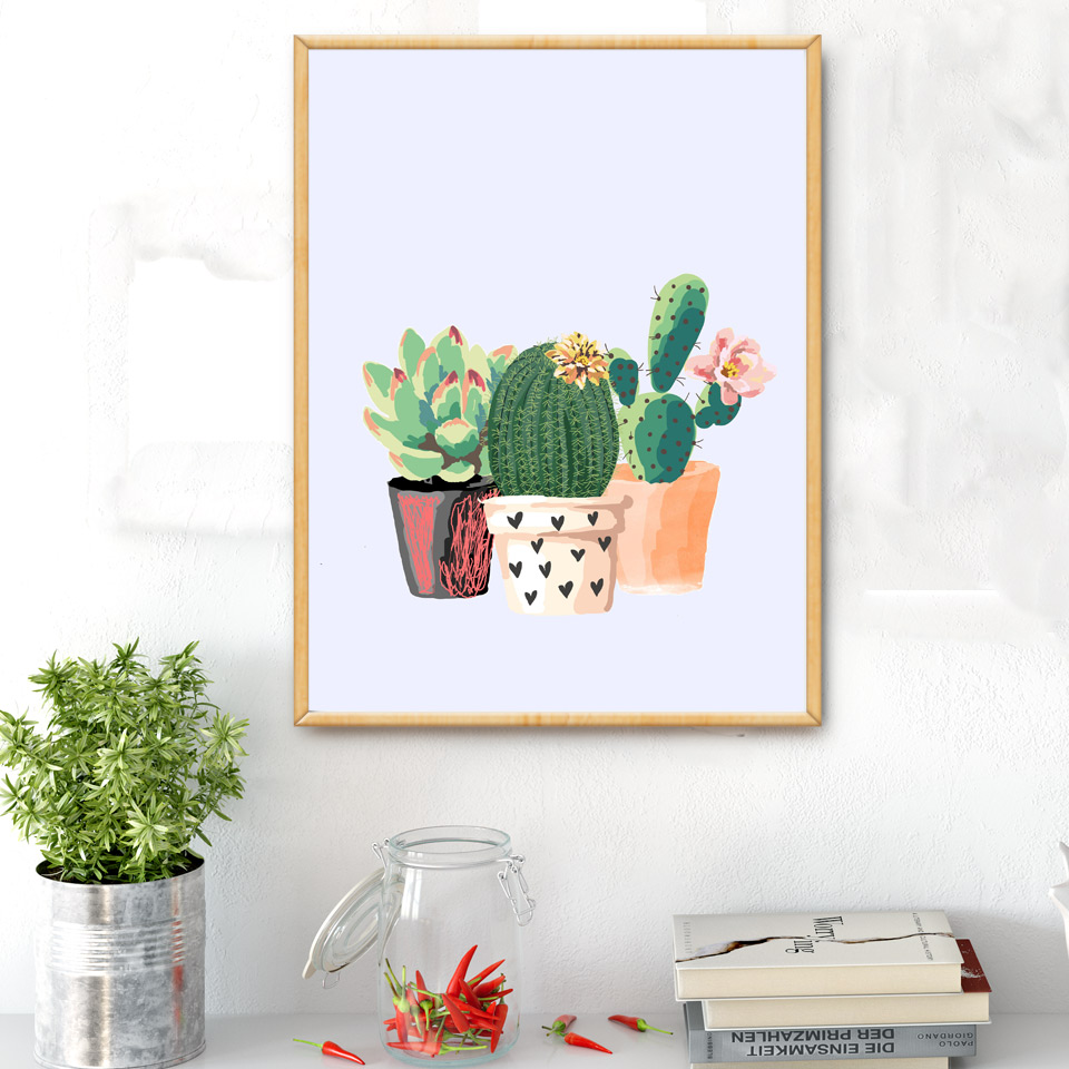 Cartoon succulent plant cactus art canvas poster print for Minimalist wall decor