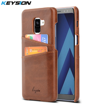 KEYSION Phone Case For Samsung Galaxy A8(2018) A8 Plus 2018 Leather Luxury Vintage Wallet Card Slots Back Cover For A8+(2018)