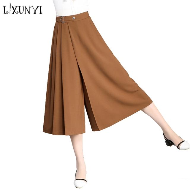 629841fc90 LXUNYI 4XL Nowy Lato Szeroki Nogawkach Spodnie Spódnica Kobiety Wysokie  Spodnie w pasie Plisowana Spódnica W