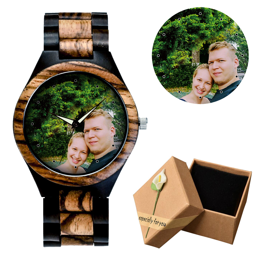 Unique Personality Private Customized Watch Photos Print Bamboo Wooden Watches Men Women Vintage Clock Family Gift Dropshipping