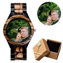 9213a4b4f فريد شخصية خاصة ساعة حسب الطلب صور طباعة الخيزران الساعات الخشبية الرجال  النساء خمر ساعة الأسرة هدية دروبشيبينغ