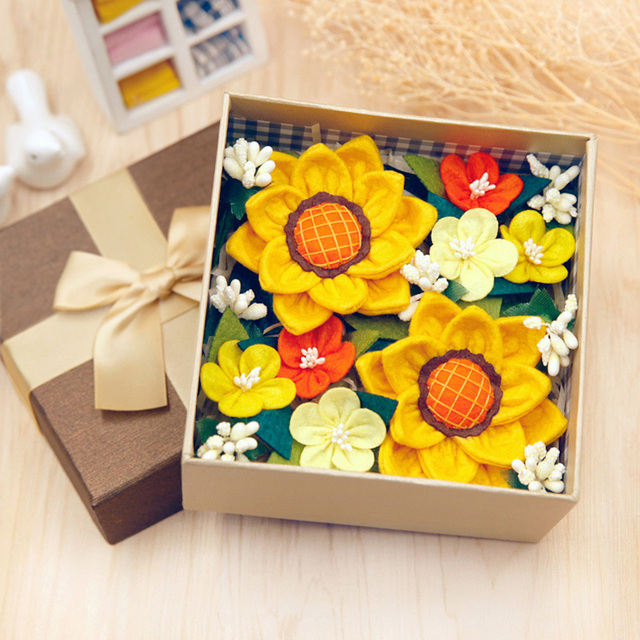 Festival Special Gift Diy Sunflower Box Fabric Flowers For Friends