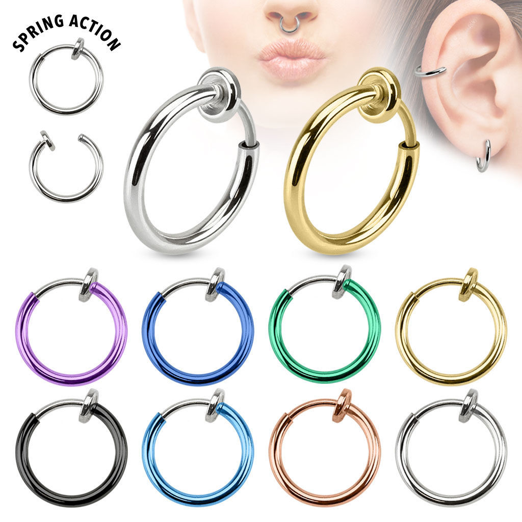 2pcs Fashion Non-Piercing Fake Spring Septum Nose Lips Ear Ring Hoop Clip On Jewelry Punk Women Girl Body Jewellery body jewelry