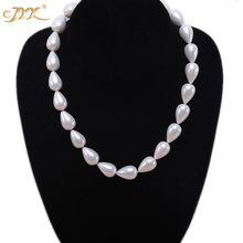 JYX 2019 charming necklace white 12-17.5mm Seashell Pearl Drop-shaped Beads Necklace high quality 18 elegant jewelry for women