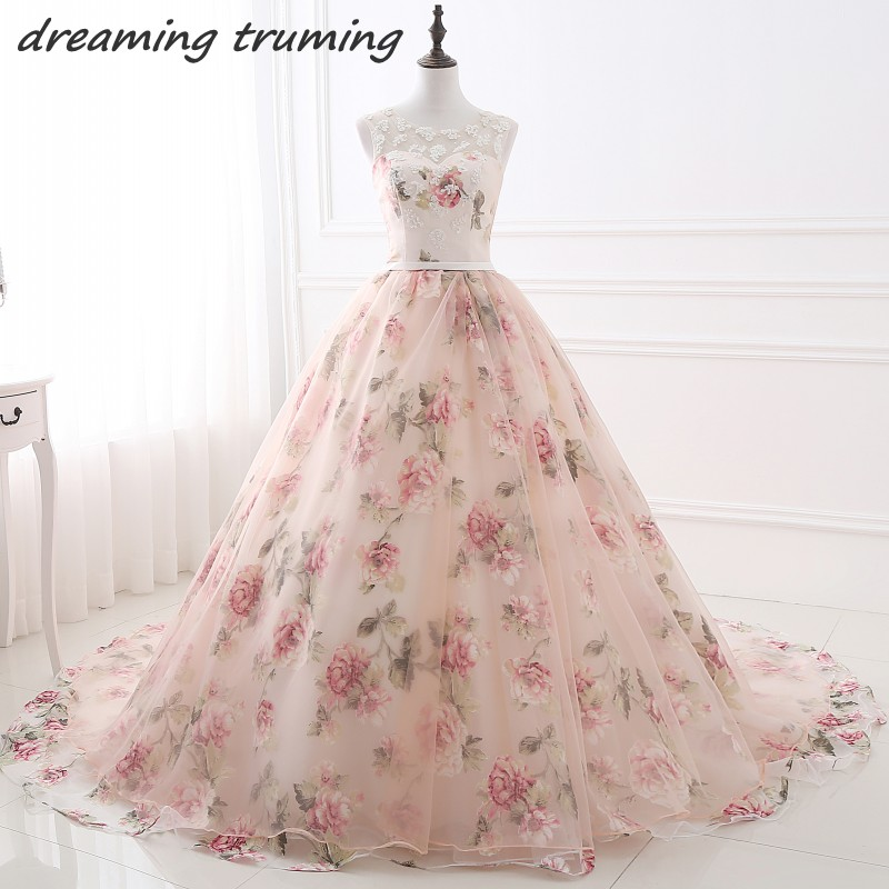 2018 Blush Pink Floral Print Ball Gown Prom Dresses Sheer Scoop ...
