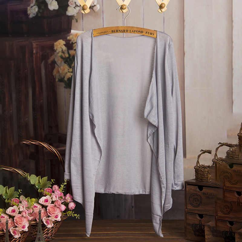 Mùa hè Mùa Thu Áo Len Dài Mỏng Phụ Nữ Áo Khoác Kẹo Màu Chiếc Áo Len Dệt Kim Áo Khoác Nữ Dài Tay Áo Mặt Trời Bảo Vệ Quần Áo 1