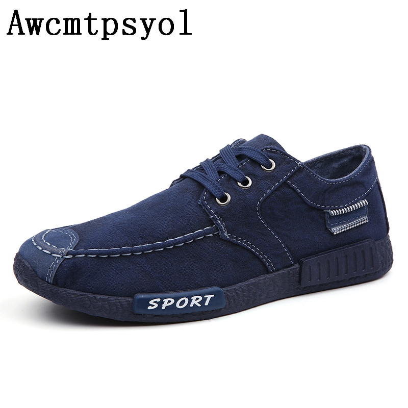 New Solid Canvas Shoes Men Lace-up Flats Men Causal Shoes Classic Male Sneaker Loafers Breathable Zapatos De Hombre