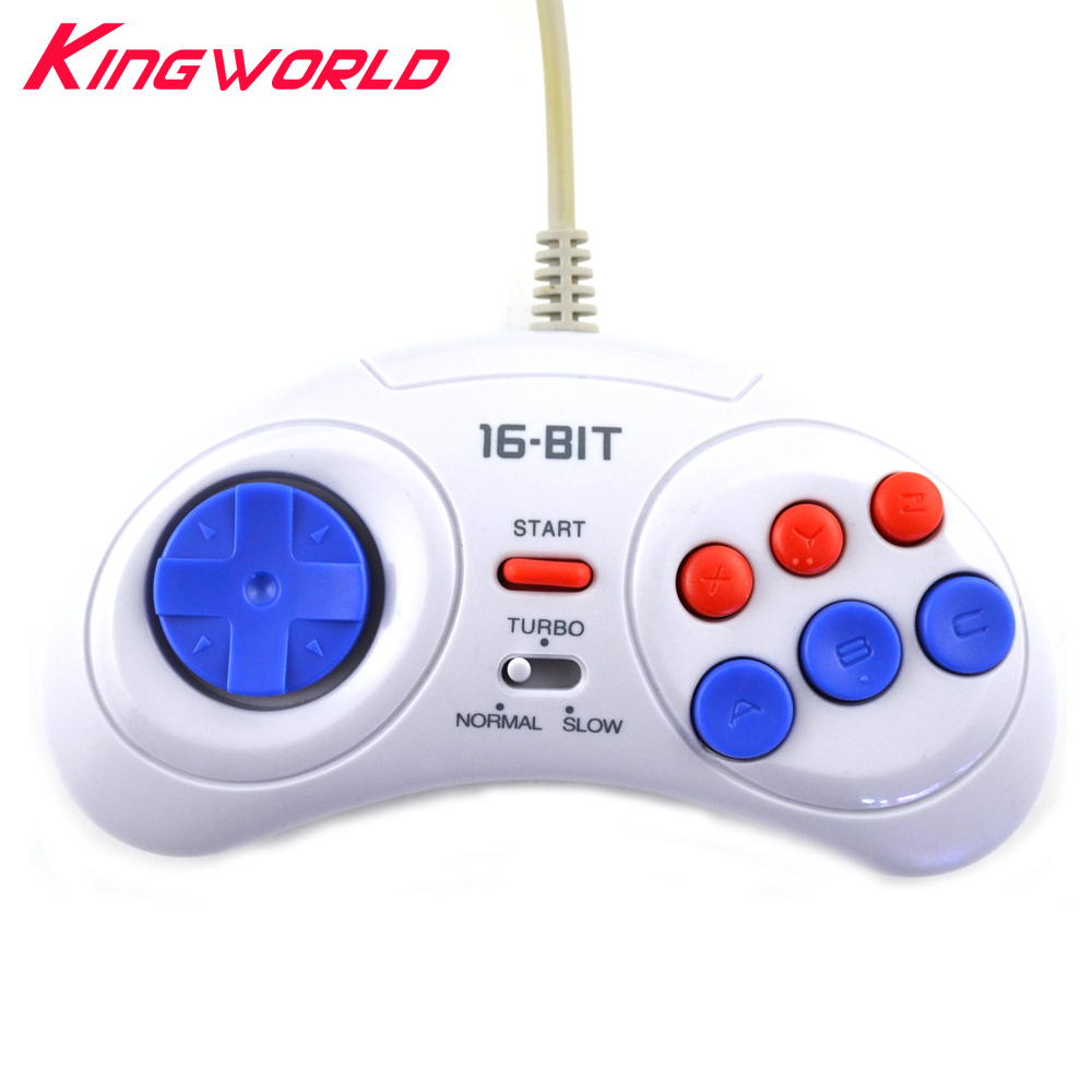 2pcs 16 bit Classic Wired Game Controller for SEGA Genesis 6 Button Gamepad for SEGA Mega Drive Mode Fast Slow white босоножки kylie kylie ky002awbldb7
