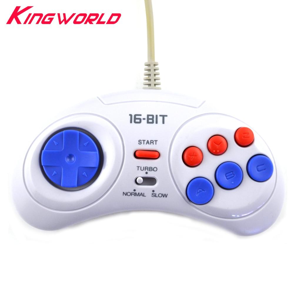 2pcs 16 bit Classic Wired Game Controller for SEGA Genesis 6 Button Gamepad for SEGA Mega Drive Mode Fast Slow white