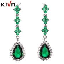 KIVN Fashion Jewelry Drop Dangle Blue CZ Cubic Zirconia Wedding Bridal Earrings for Women Mothers Day